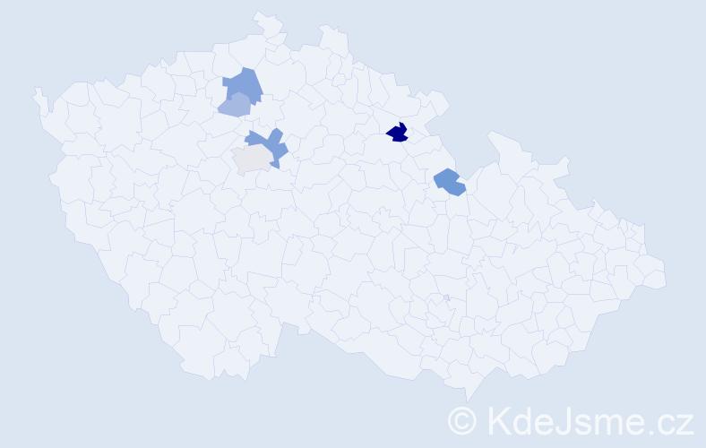 Příjmení: 'Hatková', počet výskytů 17 v celé ČR