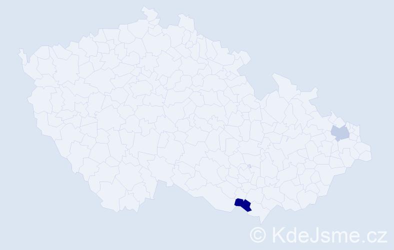 Příjmení: 'Haraj', počet výskytů 2 v celé ČR