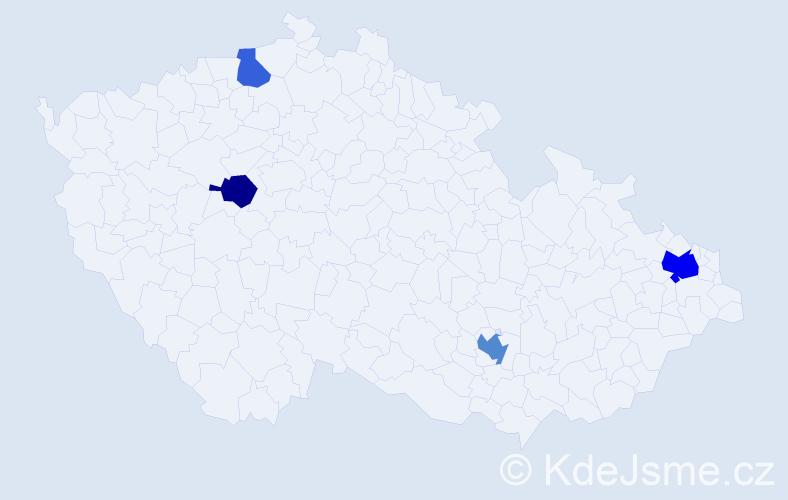 Příjmení: 'Thor', počet výskytů 7 v celé ČR