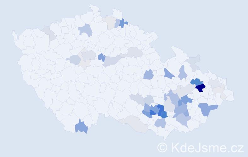Příjmení: 'Hrabálková', počet výskytů 151 v celé ČR