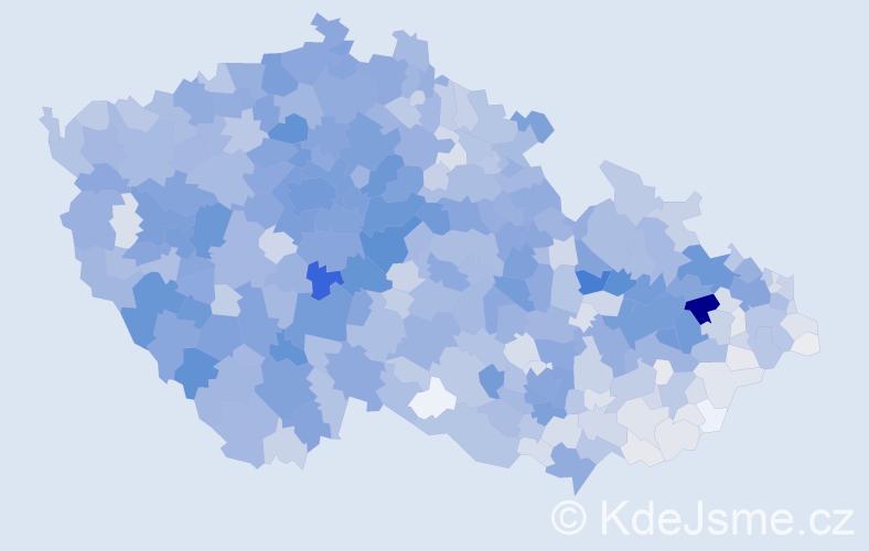 Příjmení: 'Králová', počet výskytů 10478 v celé ČR