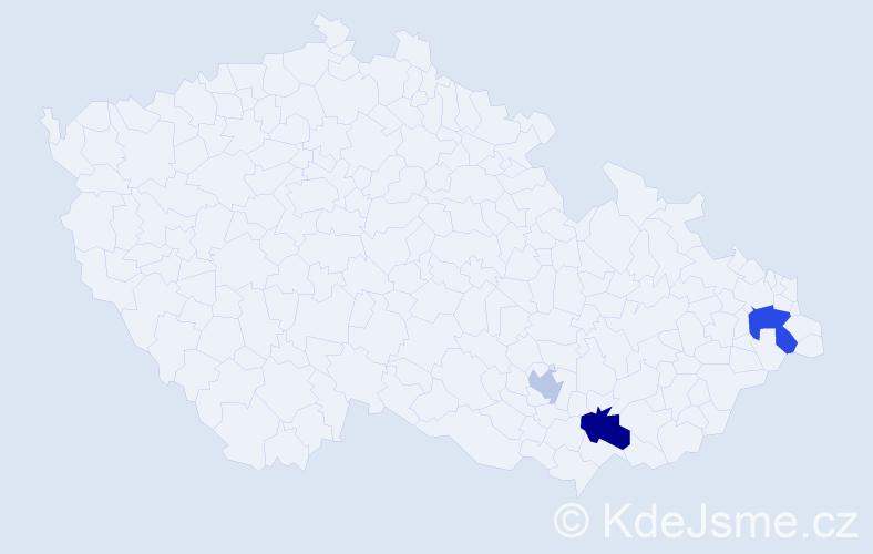 Příjmení: 'Čapatý', počet výskytů 5 v celé ČR