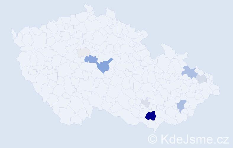 Příjmení: 'Amer', počet výskytů 10 v celé ČR