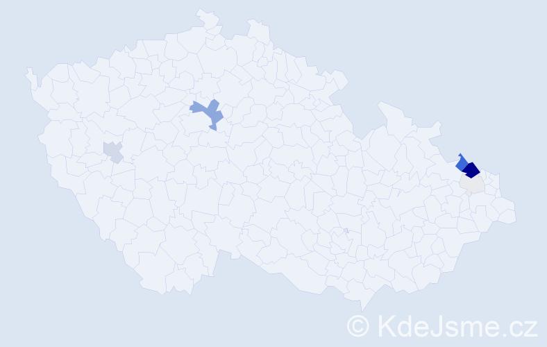 Příjmení: 'Hawlik', počet výskytů 20 v celé ČR