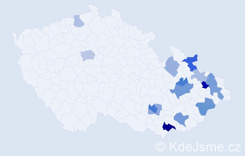 Příjmení: 'Hložánková', počet výskytů 46 v celé ČR