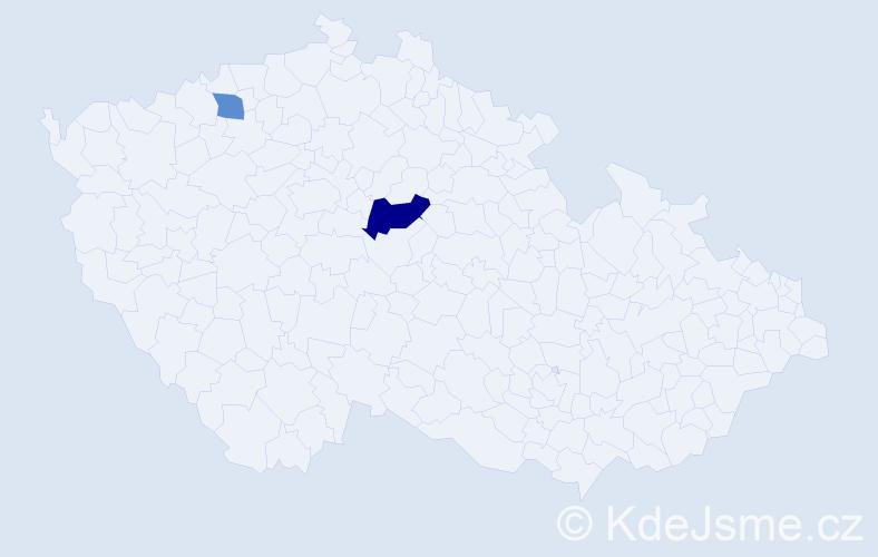 Příjmení: 'Dekiská', počet výskytů 10 v celé ČR