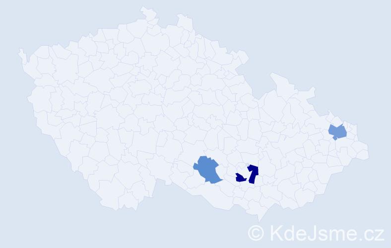 Příjmení: 'Ďurická', počet výskytů 5 v celé ČR
