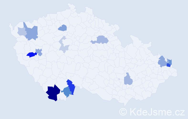 Příjmení: 'Baiger', počet výskytů 37 v celé ČR