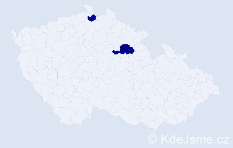 Příjmení: 'Kalcsová', počet výskytů 5 v celé ČR