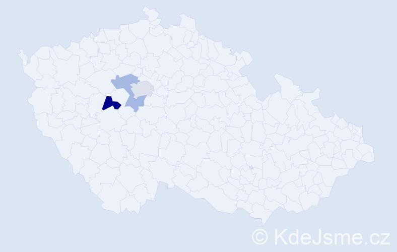 Příjmení: 'Dacej', počet výskytů 6 v celé ČR