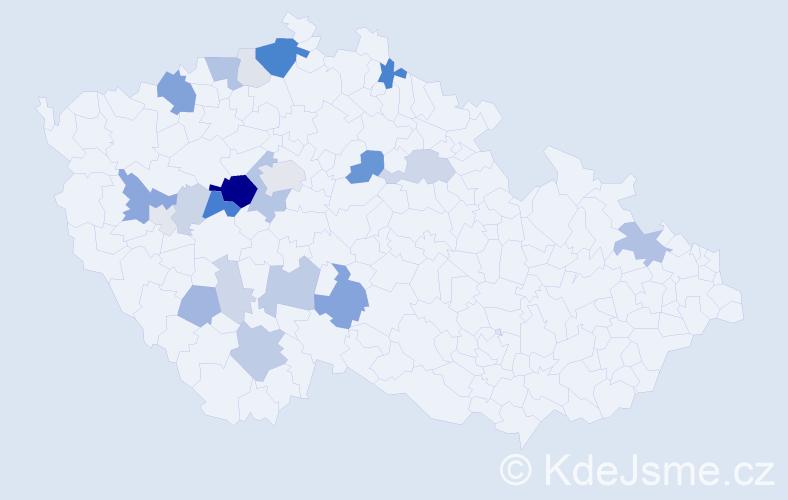 Příjmení: 'Krásl', počet výskytů 73 v celé ČR