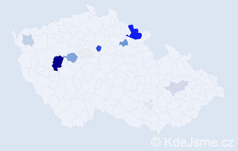 Příjmení: 'Gécová', počet výskytů 23 v celé ČR