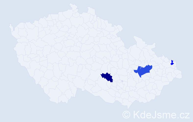 Příjmení: 'Cikalová', počet výskytů 4 v celé ČR