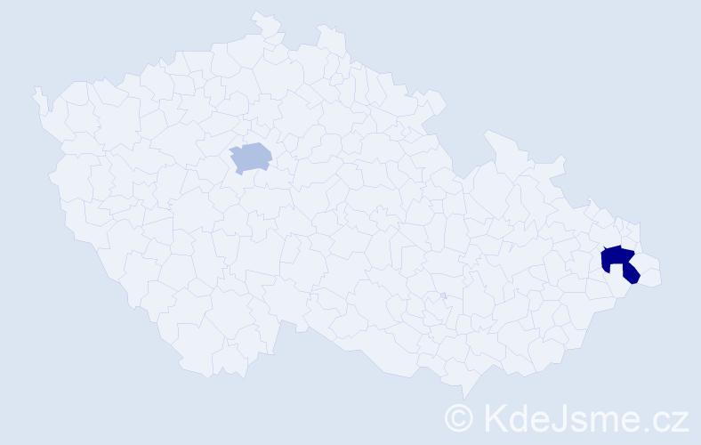 Příjmení: 'Latáková', počet výskytů 2 v celé ČR