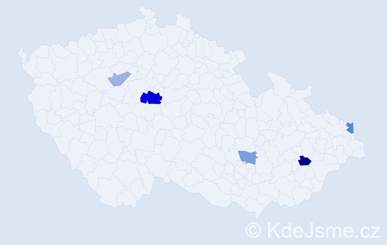 Příjmení: 'Habšuda', počet výskytů 8 v celé ČR