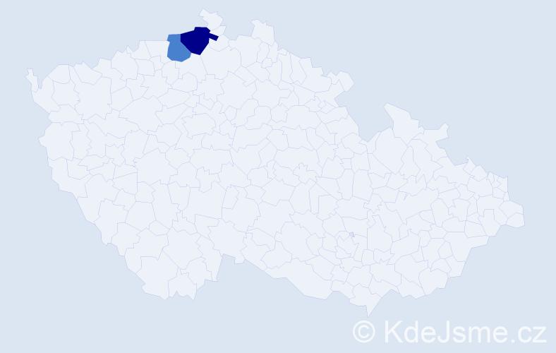 Příjmení: 'Kamerherová', počet výskytů 5 v celé ČR