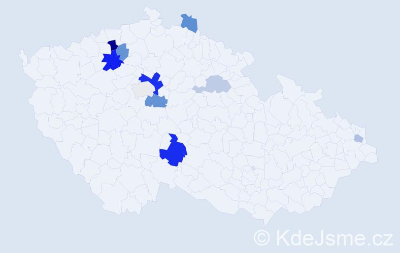 Příjmení: 'Daňkovská', počet výskytů 20 v celé ČR
