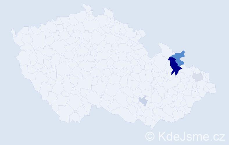 Příjmení: 'Indik', počet výskytů 9 v celé ČR
