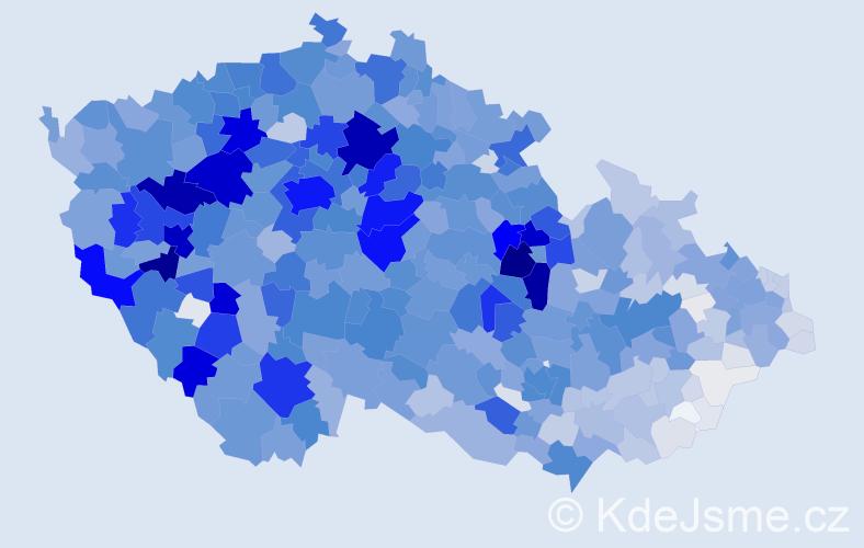 Příjmení: 'Benešová', počet výskytů 9821 v celé ČR