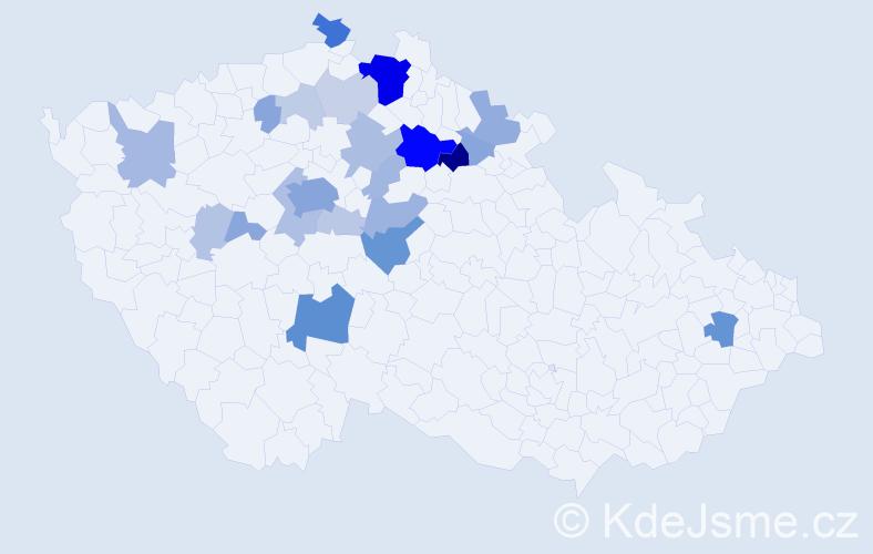 Příjmení: 'Dousková', počet výskytů 80 v celé ČR