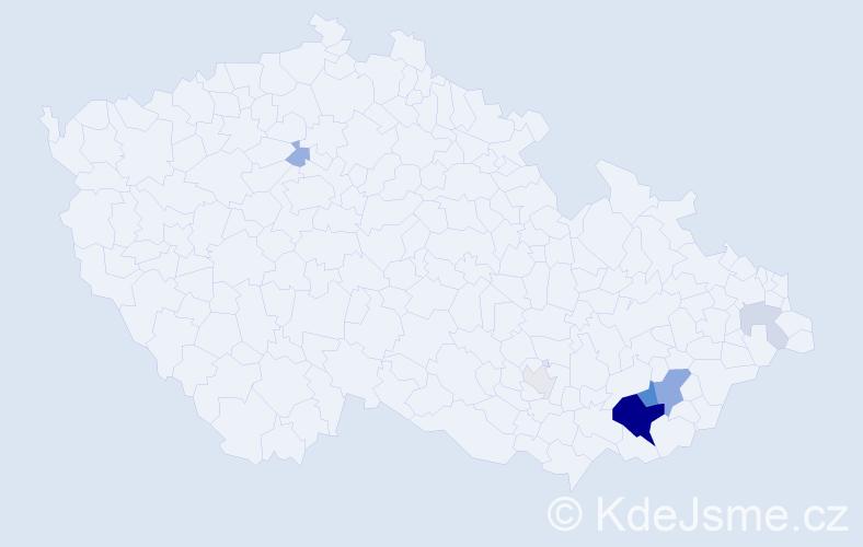 Příjmení: 'Jahodíková', počet výskytů 23 v celé ČR