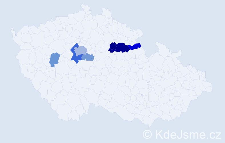Příjmení: 'Jouda', počet výskytů 19 v celé ČR