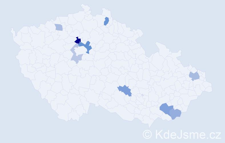 Příjmení: 'Ilenčík', počet výskytů 17 v celé ČR