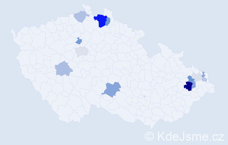 Příjmení: 'Duláková', počet výskytů 28 v celé ČR
