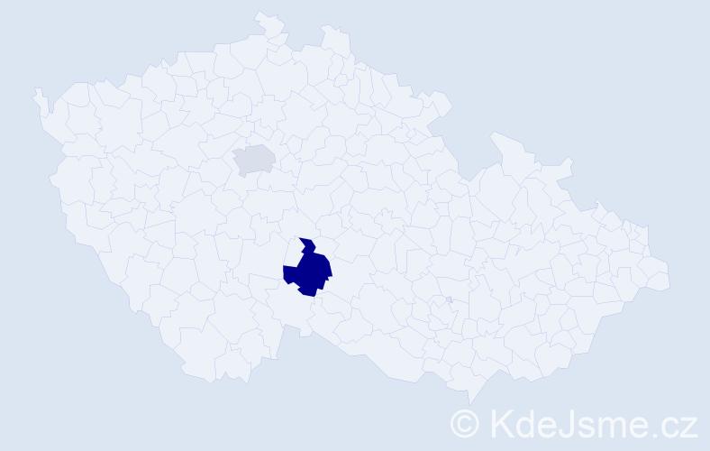 Příjmení: 'Cíboch', počet výskytů 5 v celé ČR