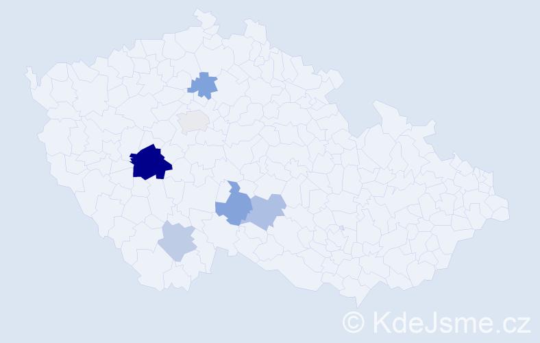 Příjmení: 'Jabulka', počet výskytů 11 v celé ČR