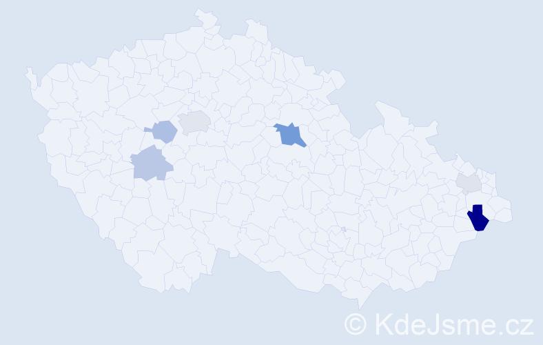 Příjmení: 'Dubjel', počet výskytů 13 v celé ČR
