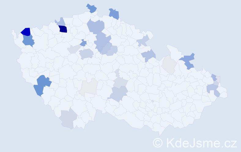 Příjmení: 'Bažo', počet výskytů 221 v celé ČR