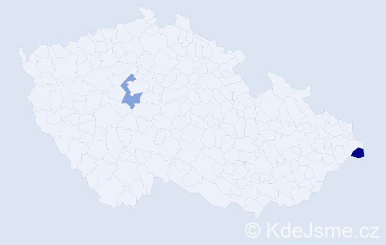 Příjmení: 'Cieciala', počet výskytů 2 v celé ČR
