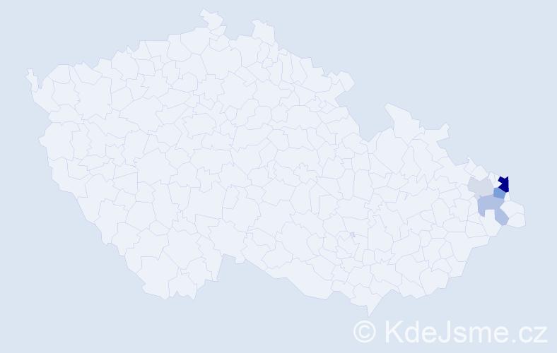 Příjmení: 'Cachlová', počet výskytů 10 v celé ČR
