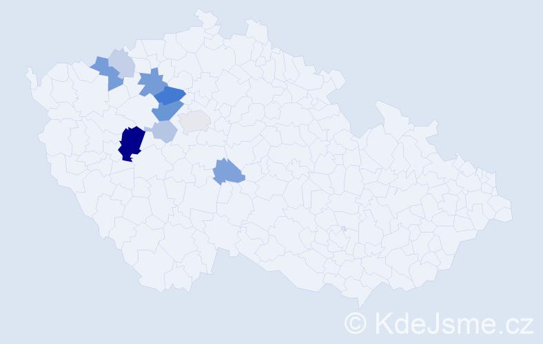 Příjmení: 'Elicar', počet výskytů 24 v celé ČR