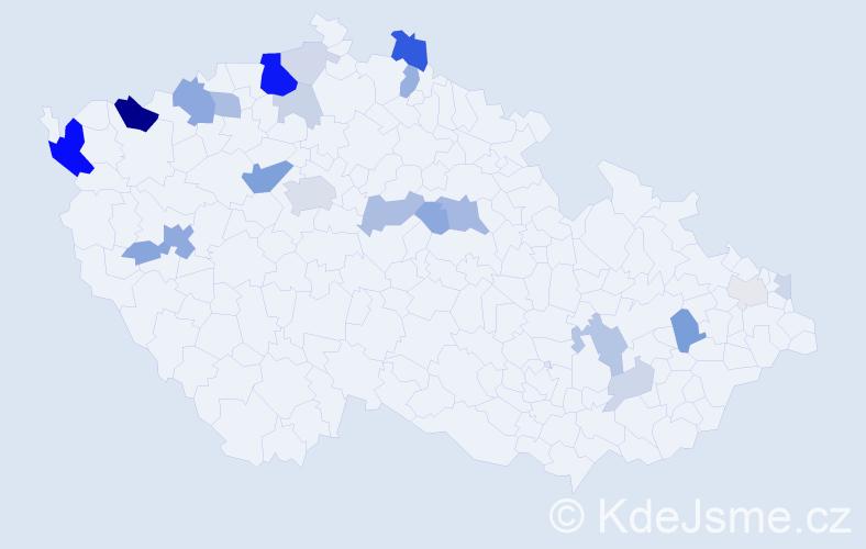 Příjmení: 'Červeňak', počet výskytů 70 v celé ČR
