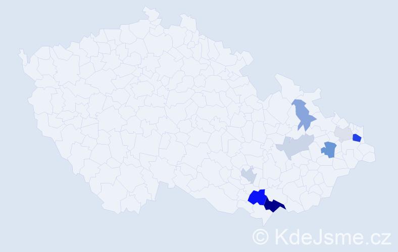 Příjmení: 'Čerňan', počet výskytů 23 v celé ČR