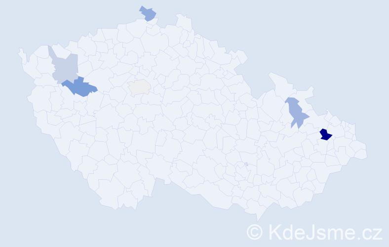 Příjmení: 'Leja', počet výskytů 9 v celé ČR