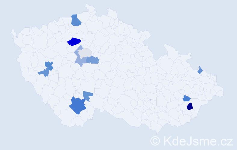 Příjmení: 'Dobner', počet výskytů 36 v celé ČR