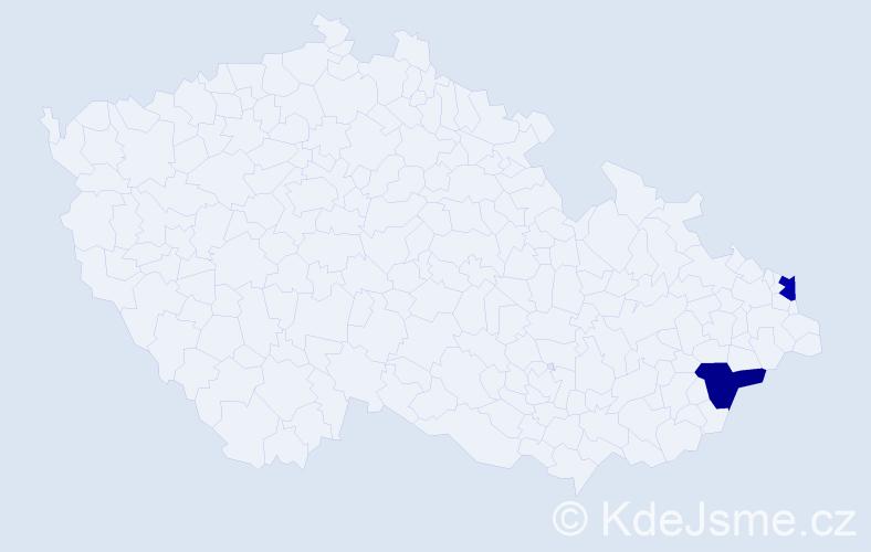 Příjmení: 'Kačmáriková', počet výskytů 2 v celé ČR