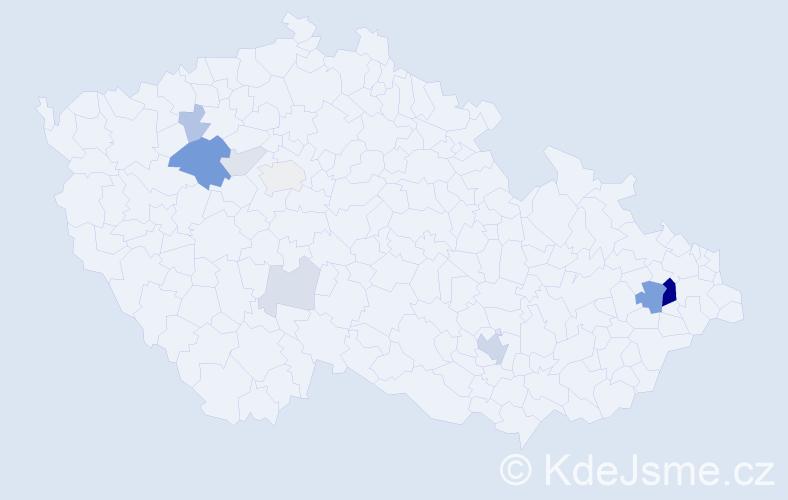 Příjmení: 'Jeličová', počet výskytů 30 v celé ČR