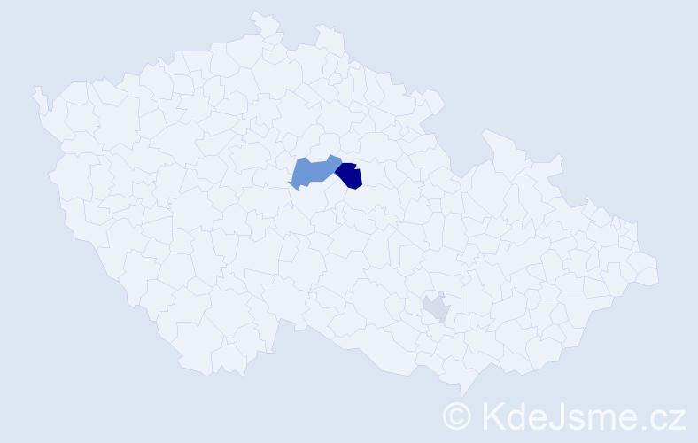 Příjmení: 'Bendžíková', počet výskytů 5 v celé ČR