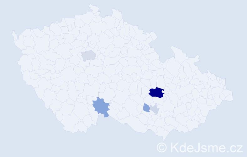 Příjmení: 'Člupek', počet výskytů 21 v celé ČR