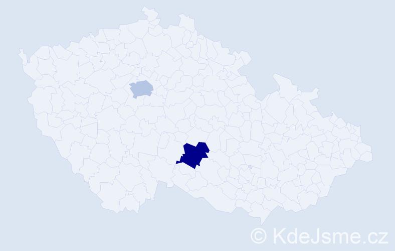 Příjmení: 'Ćorić', počet výskytů 2 v celé ČR