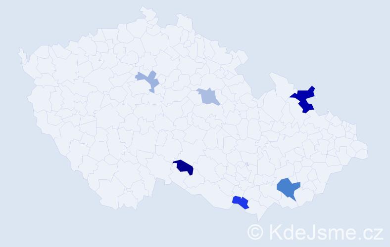 Příjmení: 'Čižková', počet výskytů 10 v celé ČR