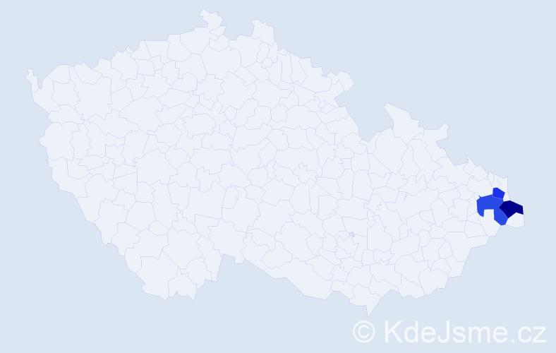 Příjmení: 'Érsek', počet výskytů 3 v celé ČR