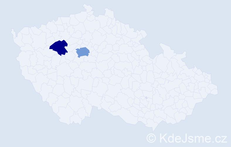 Příjmení: 'Češpírová', počet výskytů 5 v celé ČR