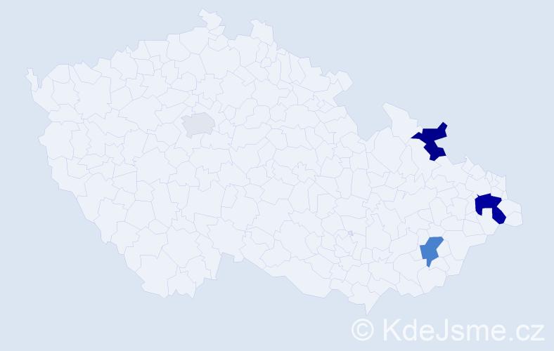 Příjmení: 'Lyzák', počet výskytů 9 v celé ČR