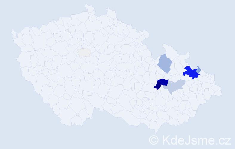 Příjmení: 'Benešlová', počet výskytů 23 v celé ČR