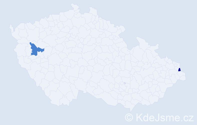 Příjmení: 'Graefová', počet výskytů 2 v celé ČR
